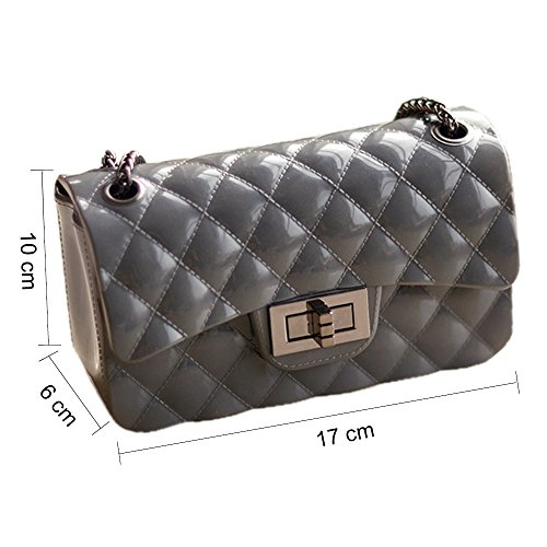 Young Handbag diamante amp; Donna tracolla Mini Bag Borse con Shoulder Borse Grigio scuro catena Jelly Ming Fashion a metallica drrwqIa