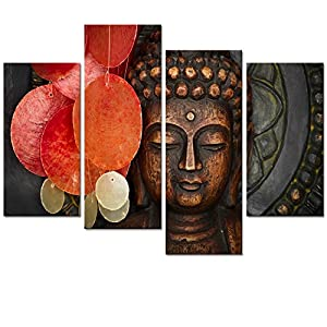 Buddha Canvas Wall Art Wood Buddha Statue Canvas Prints Keep Inner Peaceful Buddha Artwork for Living Room Yoga Room (12…