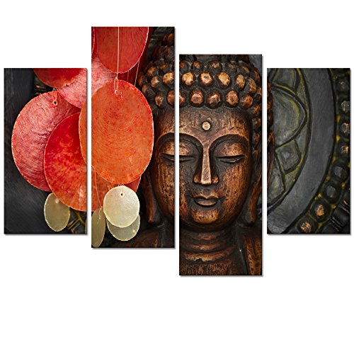 Buddha Canvas Wall Art Wood Buddha Statue Canvas Prints Keep inner Peaceful Buddha Artwork for Living Room Yoga Room (Wood Buddha Statue)
