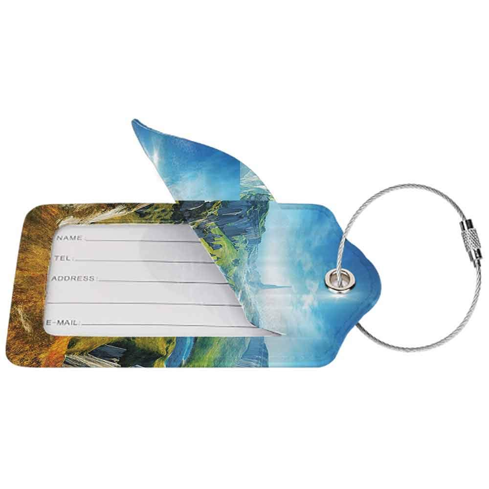 Personalized luggage tag Landscape 3D Style Colorful Magical Outdoors River Rocks Cliffs Fresh Grass Hiking Easy to carry Blue Green Grey W2.7 x L4.6