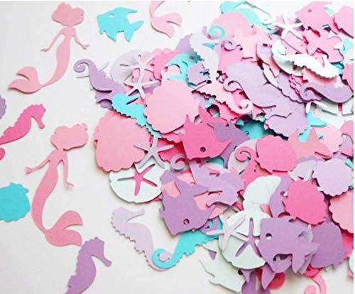 (Astra Gourmet Under the Sea Mermaid Confetti - Seahorse Coral Seashell Starfish - (Set of 100 Pieces))