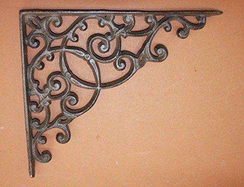 Elegant Farmhouse Entrance Way Corner Shelf Brackets Solid Cast Iron, 13'', Set of 2 by Cast Iron Home Decor Collectibles (Image #5)