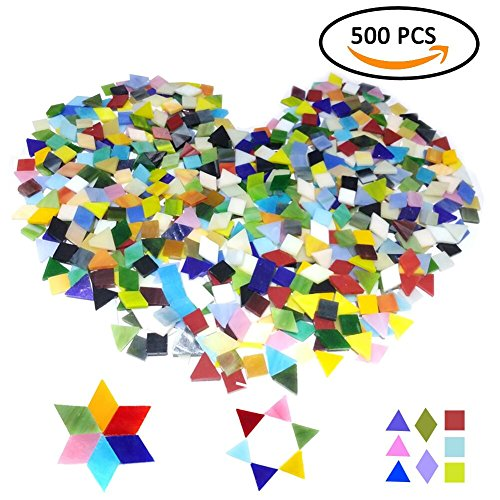 iles Stained Glass for DIY Art Craft or Home Decorations with Organizing Container,Smooth Surface Bulk Mosaic Glass Assorted Mixed Colors & Shapes like Triangle, Square, Rhombus(No (Orange Stained Glass Mosaic Tile)