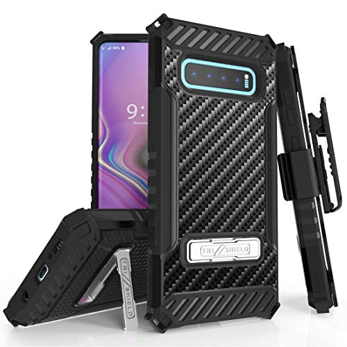 Beyond Cell TriShield Series Phone Case Compatible with Samsung Galaxy S10+ Plus, Military Grade Shockproof Protection Case with Belt Clip Holster - Carbon Fiber