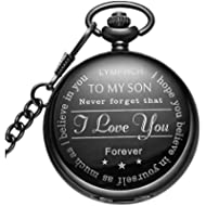 LYMFHCH Black Pocket Watch Personalized Pattern Steampunk Retro Vintage Quartz Roman Numerals...