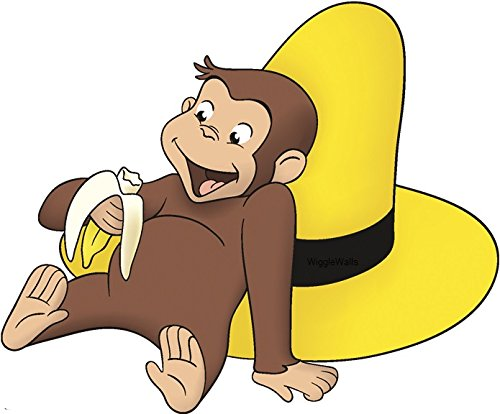 """8"""" Curious George Yellow Hat Monkey Animal Removable Peel Self Stick Adhesive Vinyl Decorative Wall Decal Sticker Art Kids Room Home Decor Girl Boy Children Bedroom Nursery 8 x 8 1/2 inches tall"""