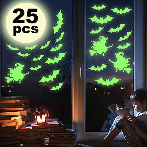 Santery 25PCS Wall Decals Luminous Light Sticker Bat + Witch Glow in The Dark Party Supplies Decoration Window Door Stickers Removable for Kids Room Living Room Kitchen Bathroom New Year