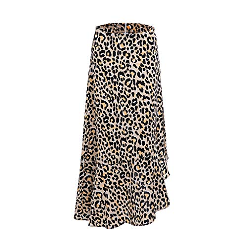 (Women's Casual Zipper Leopard Midi Flowy Pleated Skirt)