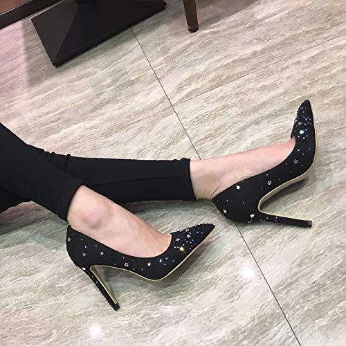 scarpe scarpe black punta con tacchi star tacco a bocca velvet solo 8cm neri trapano 40 superficiale scarpe black alti KOKQSX sottile qCP6n