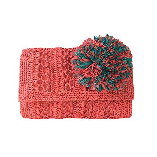 Mar Y Coral Sol Oversized Clutch Pom Crochet Anabel with Raffia Applique rrCqZdvwx