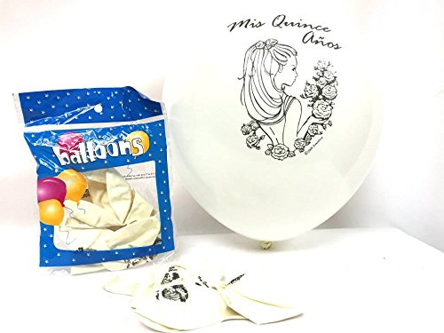 36 Mis Quince Años Globos Sweet Fifteen 15 White Latex Helium Quality Balloons