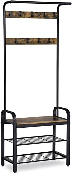Benjara Wood and Metal Frame Hall Tree with Slatted Shelves Rustic Brown and Black