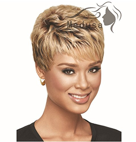 Longlove European and American Female Short Blonde Wig Synthetic Wigs Wavy Wig Fluffy (Fluffy wig 8) -