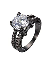 CHIC Punk Men Rings Black Gold Filled Round White Cubic Zircon Wedding Engagement Ring Anel Feminino