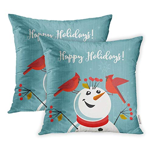 Emvency Set of 2 Throw Pillow Covers Decorative Cases Happy Holidays Red Northern Cardinal Birds Comic Snowman Cute Cartoon Winter 16x16 Inch Cover Cushion Pillowcase Square Case Print