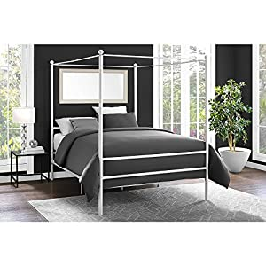 Contemporary Metal Canopy Bed Queen Multiple Colors with Finial Detailing Metal Slat Base Sturdy Metal Frame Solid Metal Feet and an Extra Center Support No Box Spring Needed