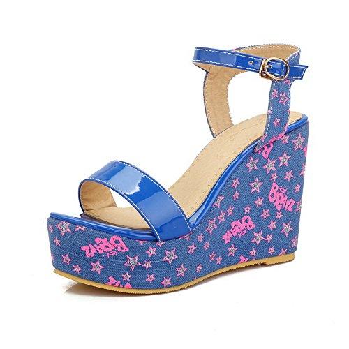 AgooLar Mujeres Material Suave Hebilla Puntera Abierta Plataforma Sólido Sandalia Azul