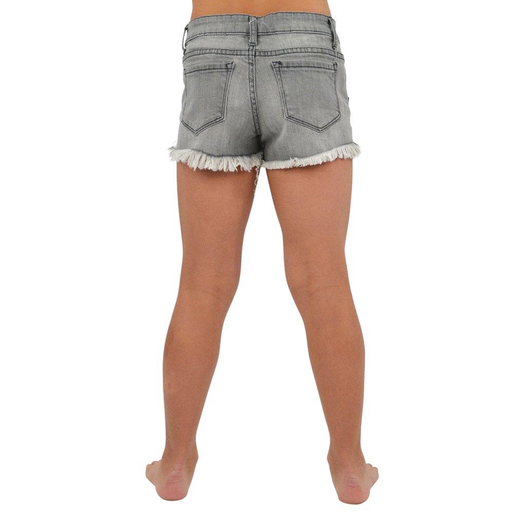Tractr Girls Fray Hem Shorts in Grey
