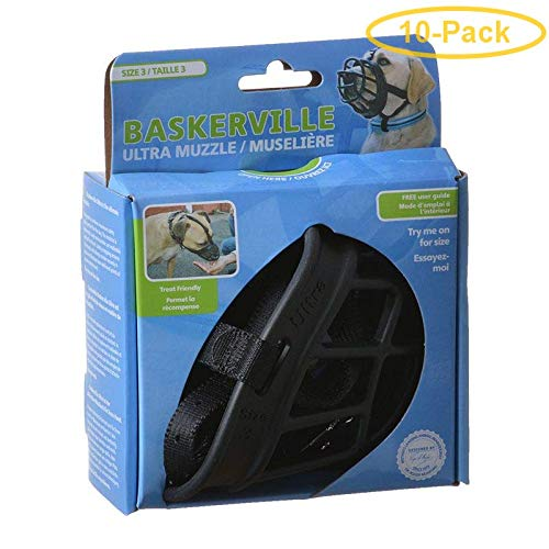 Baskerville Ultra Muzzle for Dogs Size 3 - Dogs 25-45 lbs - (Nose Circumference 11'') - Pack of 10