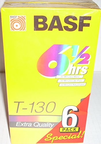 Basf T-130 6 1/2 hrs Extra Quality VHS Blank Tapes 6 pack 39hrs