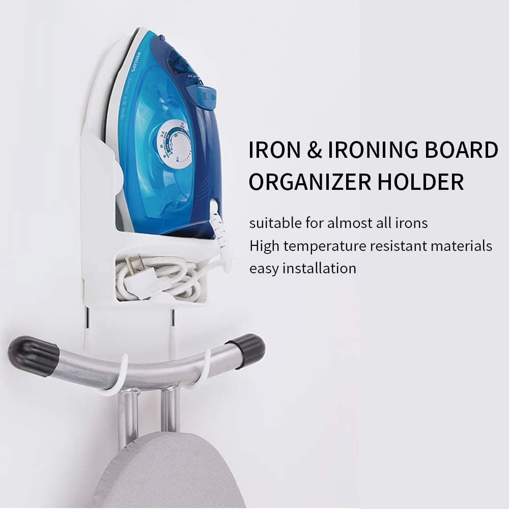 Ironing Board Hanger and Iron Storage,Iron Rack Wall Mounted Ironing Board Holder Use for Home,Hotel #YDJ Black