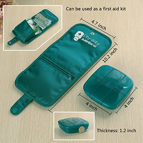 Mini Travel First Aid Kit, Weekly Pill Organizer Pill Box 7 Days Purse for Car Plane Trip by Rachsa (Blue) by Rachsa (Image #3)
