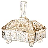 MyGift Antique Crystal Glass Candy Bowl with Lid