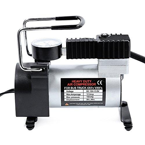 Mudent - Bomba de inflado eléctrica para coche, 12 V, 1 cilindro, compresor de aire con monitor de presión de neumáticos...