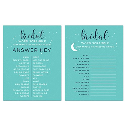 (Andaz Press Love You to The Moon and Back Wedding Collection, Wedding Word Scramble Bridal Shower Game Cards, 20-Pack)