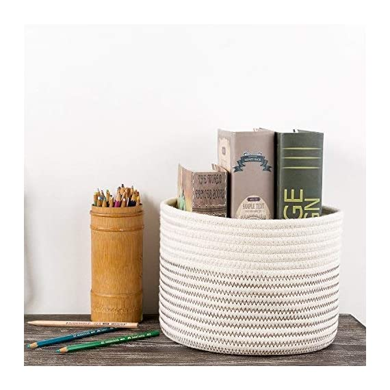 INDRESSME Small Storage Basket - Cute Cotton Rope Basket - Closet Storage Bins - Desk Basket Organizer - Baby Nursery… - Neutral color design, multiuse design and healthy material, no scratch to kid's skin and also the woody shelf, perfect closet storage baskets Extensive use: hold toys, books, magazines, cosmetics, jewelry, headset wire, wire, remote control, magnetic card, keys, note storage, vegetables, fruits, stationery, CD, medicine, flowers and more, fits on a bedside table, closet shelf, bookshelf, desk etc Easy to move and take away, free awesome practical cotton rope storage baskets - living-room-decor, living-room, baskets-storage - 517Njn o3HL. SS570  -