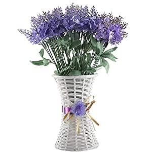 XYXCMOR Artificial Flowers 4 Bundle Lavender Plants Silk Flowers Arrangements Rustic Wedding Bouquet Decor for Vase Home Kitchen Garden Purple 12