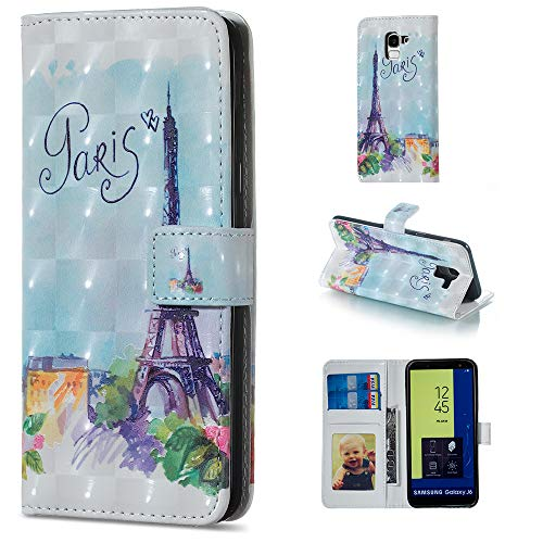 (Leather Wallet Case for Samsung Galaxy J6 2018 and Screen Protector,QFFUN Glitter 3D Pattern Design [Tower] Magnetic Closure Stand Protective Case with Card Holder Shockproof Flip Cover Bumper)
