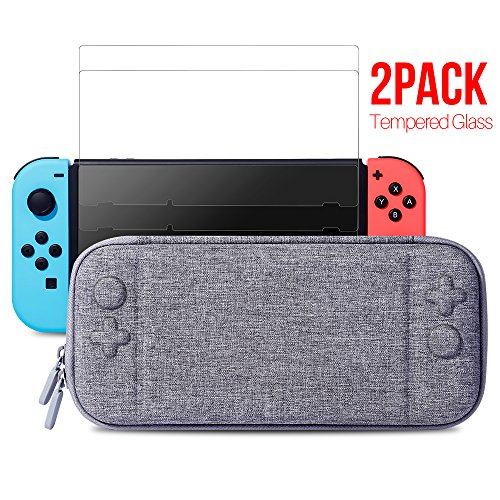 Nintendo Switch Slim Case and Tempered Glass Screen Protector, Protective Travel Carrying Case with 10 Game Cartridges, Hard Shell Pouch for Nintendo Switch Console and Accessories by MayBest, Grey