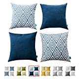 Decorative Pillow Cover - HOMEPLUS Plaid Cotton Decorative Pillow Covers 4 pcs Throw Pillows Covers Navy Blue Couch Pillowcase Cushion Cover 17X17 Throw Pillow Cover Couch Navy Blue