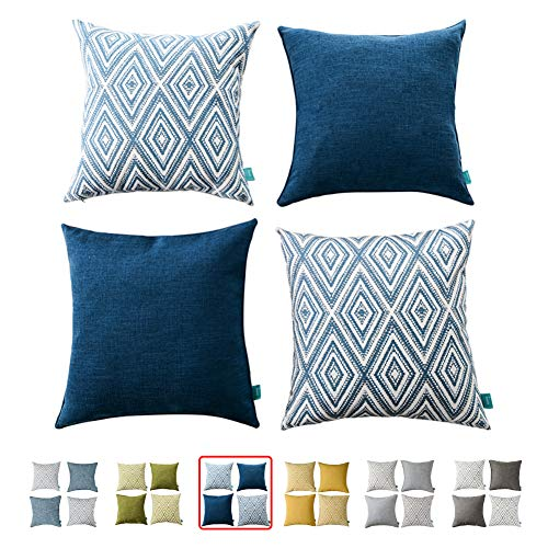 HOMEPLUS Plaid Cotton Decorative Pillow Covers 4 pcs Throw Pillows Covers Navy Blue Couch Pillowcase Cushion Cover 17X17 Throw Pillow Cover Couch Navy Blue (Pillow Cushions)