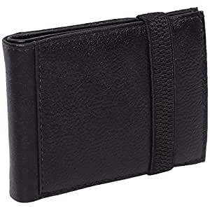 Laveri Genuine Leather Credit Card Holder Wallet Bill and Card Holder with Elastic Band for Unisex - Leather, Black