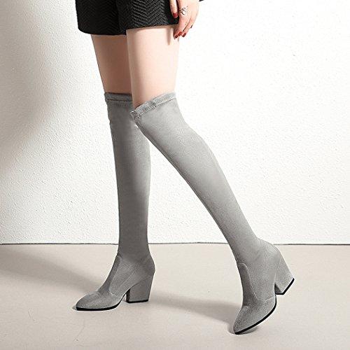 Light Heels Schuhe Oberschenkel High Stiefel Stiefel Grey Stretch Wetkiss Overknee hohe für Thick Lady Damen fRagRnPO