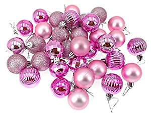 Kinteshun Christmas Ball Baubles,1.6 Shatterproof Assorted Hang Balls Pendant for Xmas Tree Decoration(34pcs,Pink,Small Size) (Color: Pink)