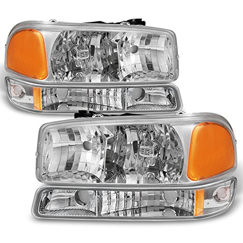 For 99-06 Sierra 00-06 Yukon Chrome Clear Headlights Replacement + Bumper Signal Light Lamps 4pcs Set ()