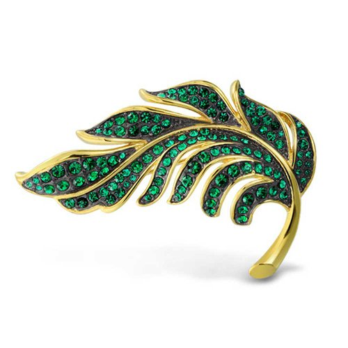 Bling Jewelry Large Leaf Forest Green Crystal Gold Plated Statement Brooch Pin for Women ()