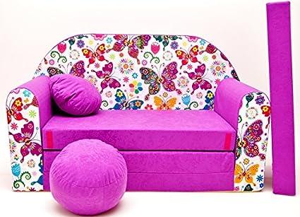 Pro Cosmo M33 - Sofá Cama para niños con puf, reposapiés y Almohada, de Tela, Color Morado (168x 98x 60cm)