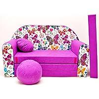 Pro Cosmo M33 - Sofá Cama para niños con puf, reposapiés y Almohada, de Tela, Color Morado (168 x 98 x 60 cm)
