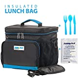 INSULATED LUNCH BAG KIT For Work - Pinnacle Cooler Bag for Men, Women, Adults + BONUS GEL ICE PACK and MATCHING CUTLERY - Durable Nylon, Double Zipper, Adjustable strap – Black & Blue ()