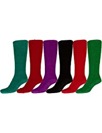 Sakkas Womens Super Soft Anti-Slip Fuzzy Knee High Socks Value Assorted 6-Pack