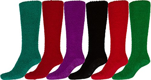 Sakkas 16803-pack11 Womens Super Soft Anti-Slip Fuzzy Knee High Socks Value Assorted 6-Pack