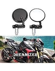 "Dreamizer Motorcycle Round Bar End Mirrors, 7/8"" Motorcycle Rear View Mirror Fits for Yamaha Honda Kawasaki Suzuki Ducati Street Sport Bikes"