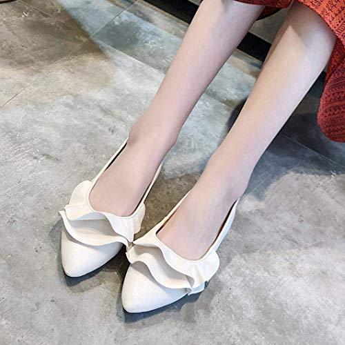 5 Blanc Chaussures De Dames Cuir Casual Noir Taille Mode Cn Slip En Confortables 37uk 3 Qiusa Toe on Pionted Plissé coloré pFHwnqxRCf