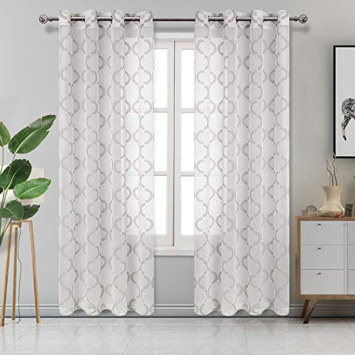 DWCN Moroccan Geometric Burnout Sheer Curtains - Faux Linen Semi Sheer Voile Bedroom and Living Room Curtains, 52 W x 84 L inch, Set of 2 Grommet Curtain Panels, Grey