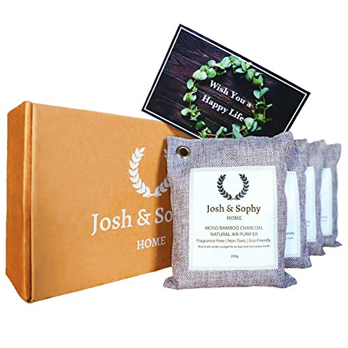 (Josh & Sophy Bamboo Charcoal Air Purifying Bag. Moso Natural Air Purifier, Unscented Air Freshener, Chemical Free and Eco Friendly Deodorizer, Pollutants and Moisture Absorber, 200g 4-Pack + Postcard)