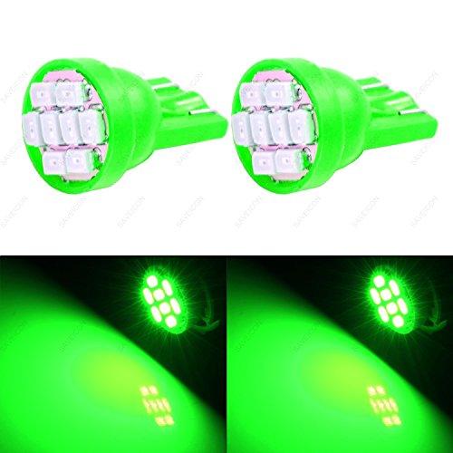 SAWE - T10 8-SMD LED Car Lights Bulb W5W 147 152 158 159 161 168 184 192 193 194 2825 (2 pieces) (Green) ()